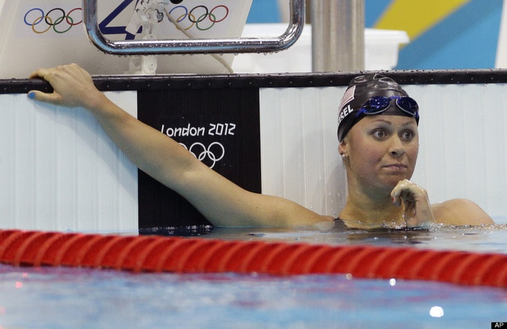 United States' Elizabeth Beisel reacts after placing second in the women's 400-meter individual medley swimming final at the Aquatics Centre in the Olympic Park during the 2012 Summer Olympics in London, Saturday, July 28, 2012.