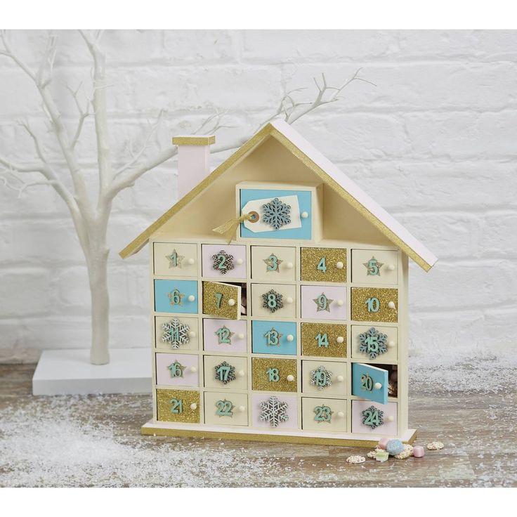 Wooden House Advent Calendar 40 Cm We Decoupage Paper