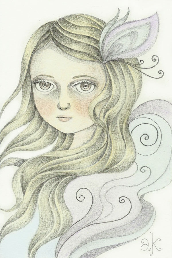 Original Illustration Whimsical Pencil Drawing Myria By