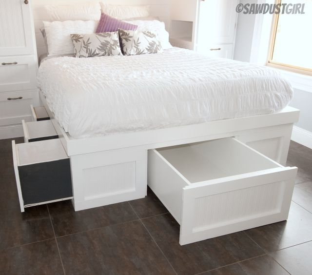 how to build a platform bed with storage underneath
