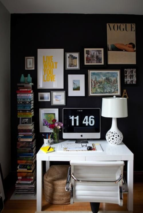Lively Small Office -- love the vertical bookshelf!