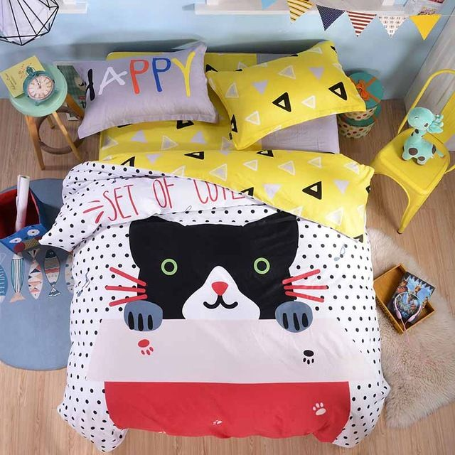 new arrival cotton pokemon bedding set high quality reactive printed cartoon twin queen bed sheet pillow duvet cover sets - Queen Bed Sheets
