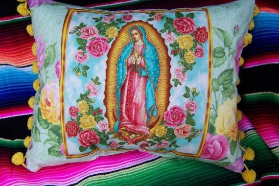 Virgen de Guadalupe Mexican Pillow Roses