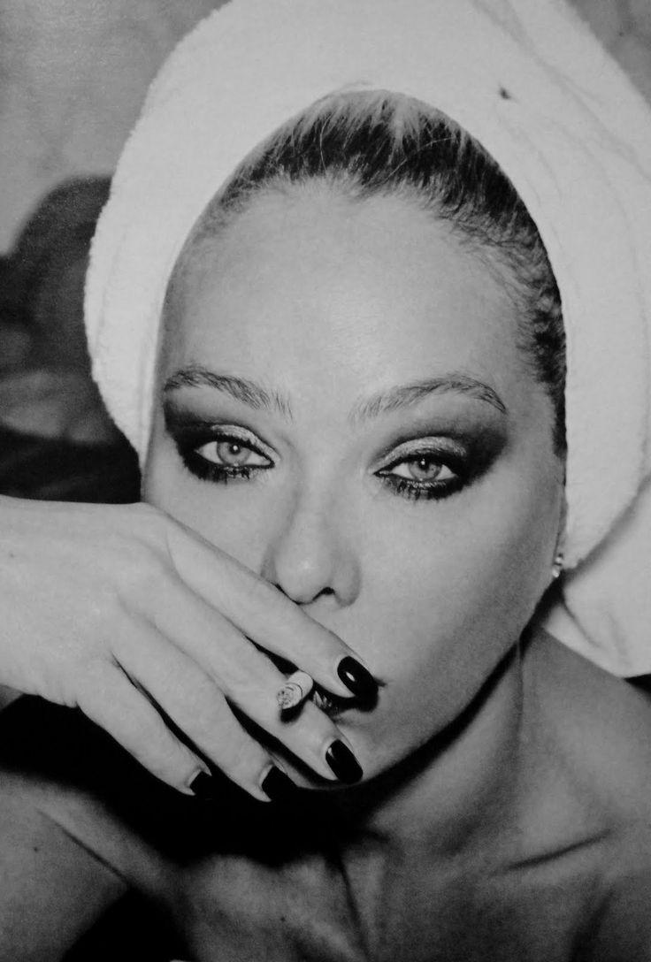 Ornella Muti, italian actor, smoking, black and white photo, sexy smokey eyes