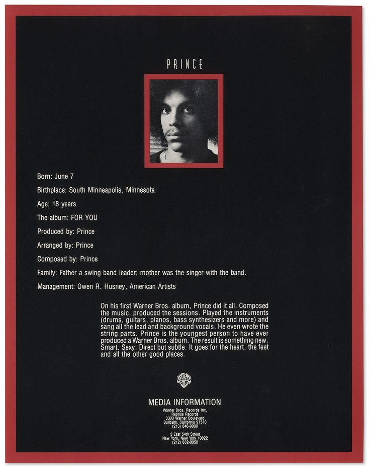 From Prince's first press kit