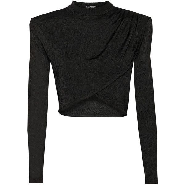 Cropped knitted top (€1.535) ❤ liked on Polyvore featuring tops, shirts, crop top, crop, blusas, balmain shirt, balmain, crop shirts and shirts & tops