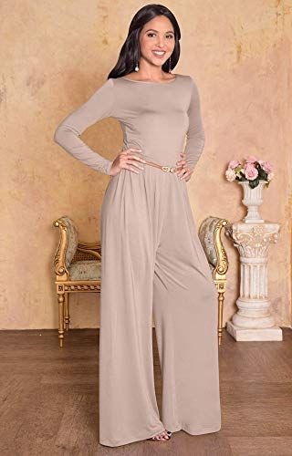 5a76751d774 Amazon.com  KOH KOH Womens Long Sleeve Sleeves Wide Leg with Belt Formal  Elegant