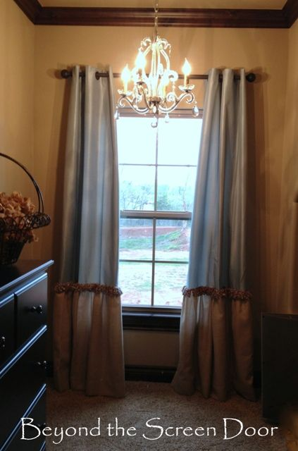 Aqua & Natural Window Treatments- enhanced store bought curtains via Beyond the Screen Door