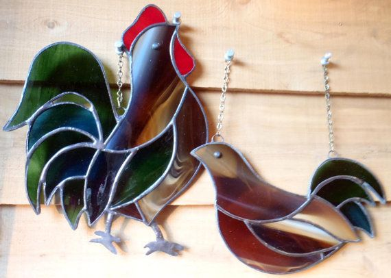 Chickens Rooster and Hen Kitchen Window by InHisGardenCreations
