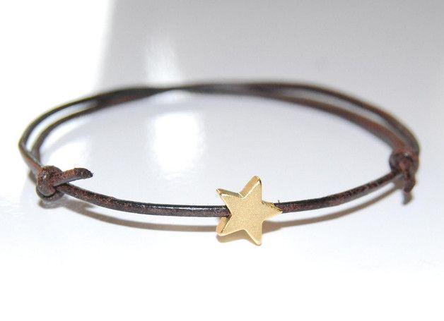 *freundschaft* Armband | Leder | Stern gold