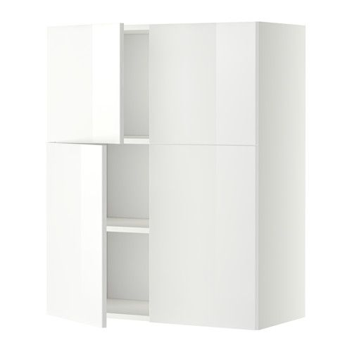 IKEA - METOD, Wall cabinet with shelves/4 doors, white, Ringhult high-gloss white, , You can customise spacing as you need, because the shelf is adjustable.Sturdy frame construction, 18 mm thick.Snap-on hinges can be mounted on the door without screws, and you can easily remove the door for cleaning.