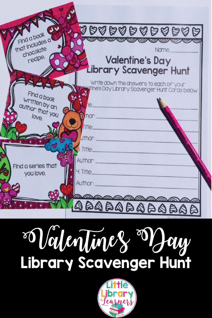 Looking for a Library Skills activity for Valentine's Day? Look no further! These Library Scavenger Hunt Cards are a fun and engaging activity that gets students engaged in locating information within their library.  #libraryskills library #valentinesday #scavengerhunt