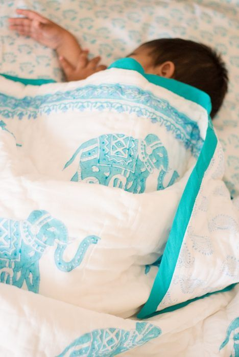 Elle Block print quilt - Turquoise nursery - cotton baby blanket