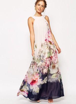 Vestidos Chifón Floral Hasta los tobillos Sin mangas (1024351) @ floryday.com