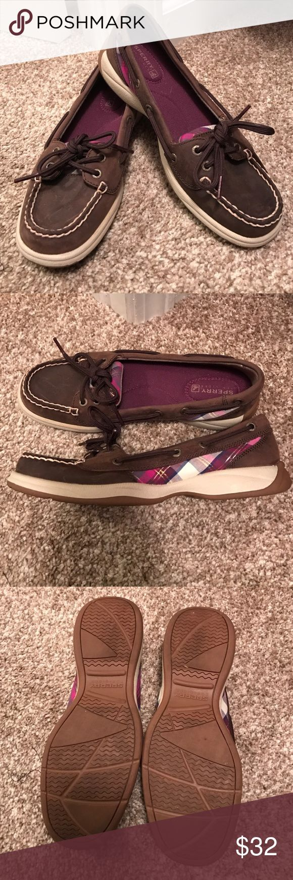Sperry top sider!! Nearly perfect condition! Dark brown with pink and purple plaid on the sides. So cute!! Worn one time. Like new condition. Make me an offer!! Sperry Top-Sider Shoes Flats & Loafers