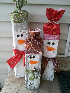 These would be so easy to make for gifts! Scrap wood, paint, fabric scraps, and some raffia! Throw in a little hot   glue gun and voila! Use old socks with toe and heel cut off for the hat.