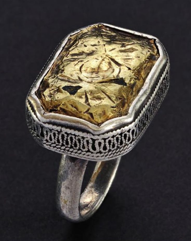 Indonesia ~ Aceh   Square man's ring with bevelled corners; silver, gold     Source; Ethnic Jewellery from Indonesia: Continuity and Evolution. Bruce W Carpenter. Pg 58