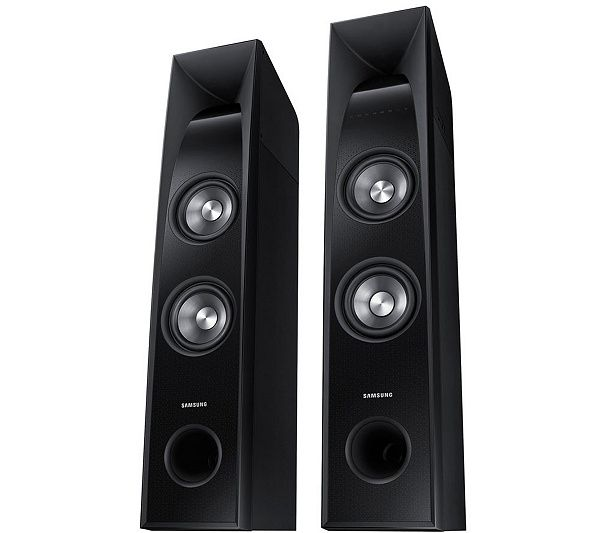 Towers of power. Get bass-bumping sound from all your audio content with the Samsung HW-J5500 sound tower system. Page 1 QVC.com
