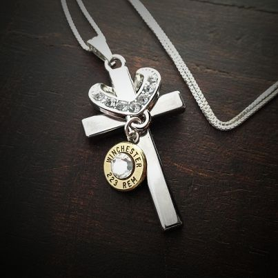 Bullet Jewelry by JECTZ® - Cross My Heart Bullet Necklace, $39.95 (http://www.jectz.com/cross-my-heart-bullet-necklace/)