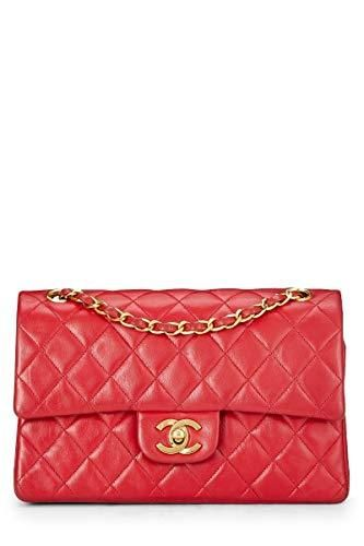 c18b1ee3e041 CHANEL Red Quilted Lambskin Classic Double Flap Small (Pre-Owned) in ...