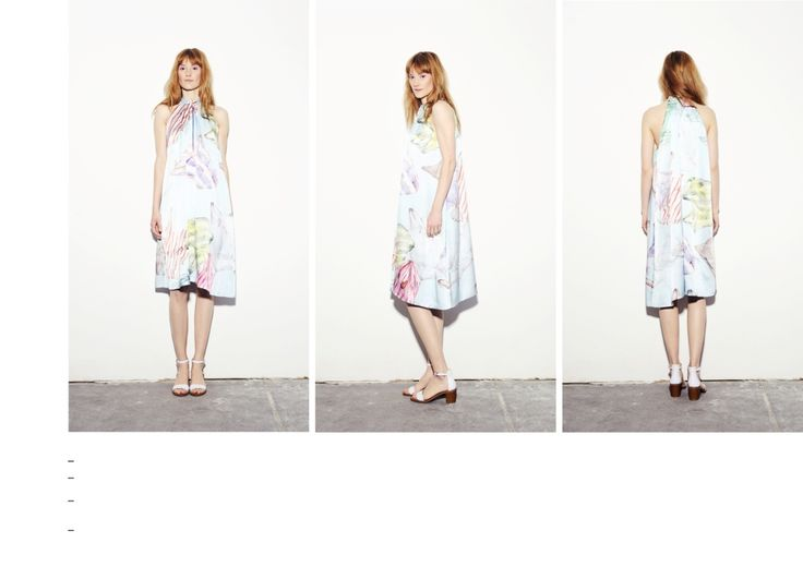 Plastic bag printed silk dress with folded neck detail.