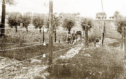 BEELD 1 Dit is een afbeelding van de dodendraad. De dodendraad was een elektrische versperring aan de grens tussen België en Nederland tijdens WOI