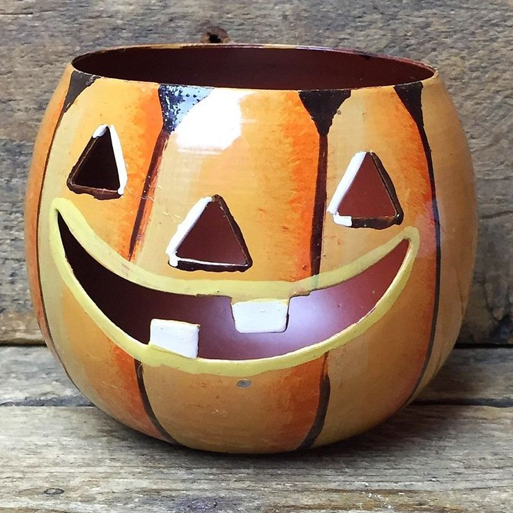 Metal Happy Jack O' Lantern Candle Holder pumpkin