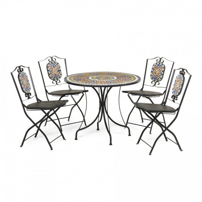 kingfisher mosaic 4 seater bistro set garden furniture