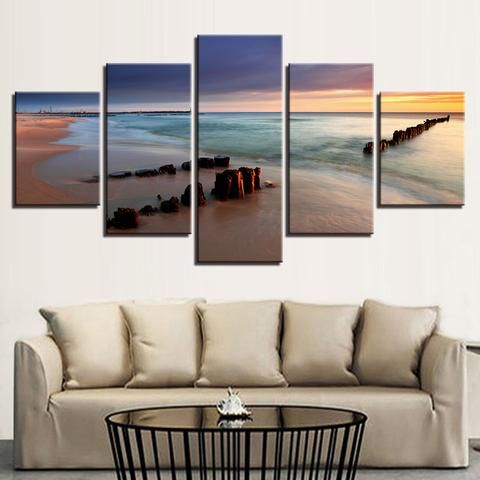 5 Pieces Sunset Beach Sea Reef Bridge Seascape Wall Art