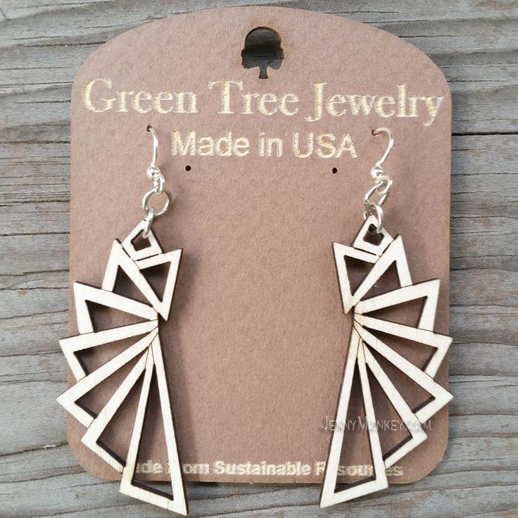 THE TRIANGULAR laser-cut wood earrings Green Tree Jewelry NATURAL geometric 1197 #GreenTreeJewelry #DropDangle