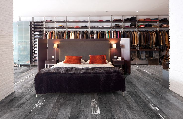 Grey tile that looks like wood; Walk in closet tucked behind a nice modern  bed :-)   Gimme Shelter: Inspiring Home Ideas   Pinterest   Walk in closet,  ... - Grey Tile That Looks Like Wood; Walk In Closet Tucked Behind A