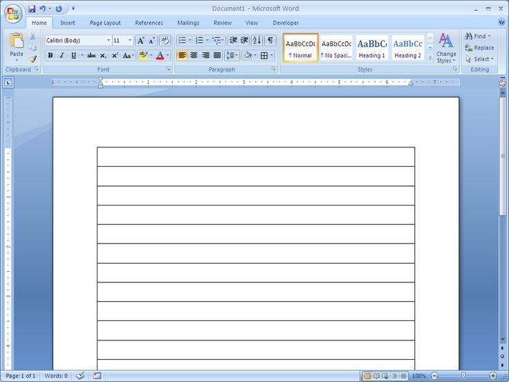 This page is going to tell you how make a lined paper in Word 2007...   Remove outside borders to make only the bottom lines
