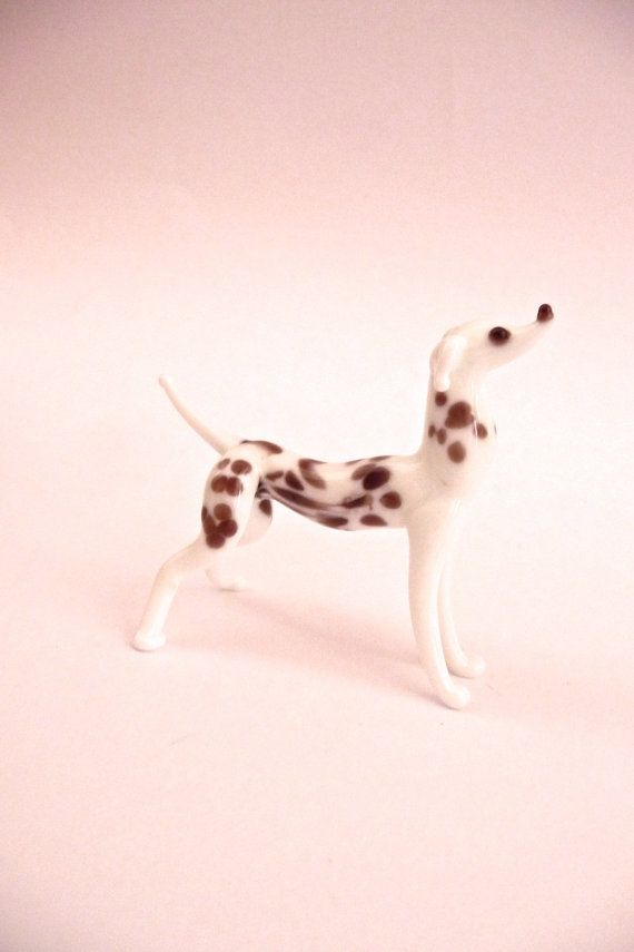 Vintage New Miniature Blown Glass Dalmatian Dog by TickleAndFinch