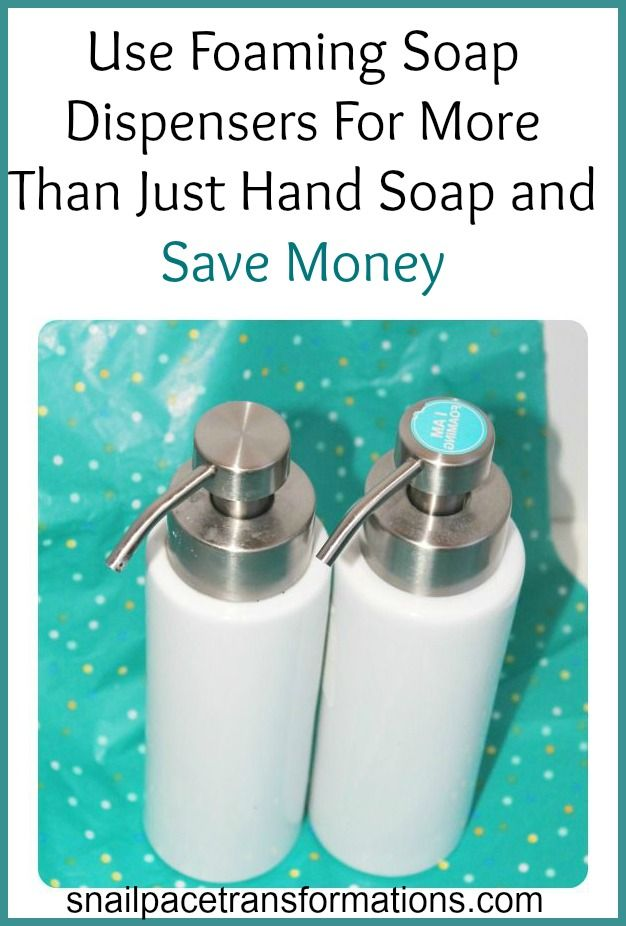 Most people know that you can save money using and refilling foaming soap dispensers for hand soap but do you know you can save even more money using these bottles in other areas of your home?