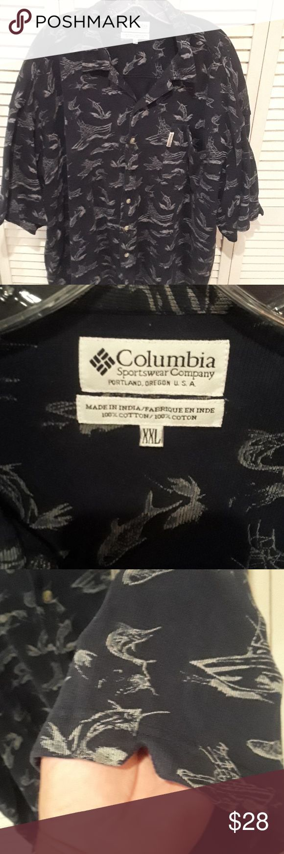 Columbia Sportswear Company nautical shirt Worn and washed once in great condition. Colors are navy blue gray beige. Depicts Marlin fishing boats and I think it's a shark COLUMBIA SPORTSWEAR COMPANY Shirts Casual Button Down Shirts