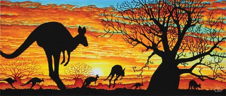 Boab Tree & Kangaroos-