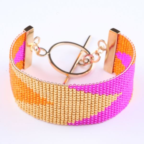 Hand-woven coloured glass and gold plated beads, sterling silver gold plated clasp.-By Anabel Campbell