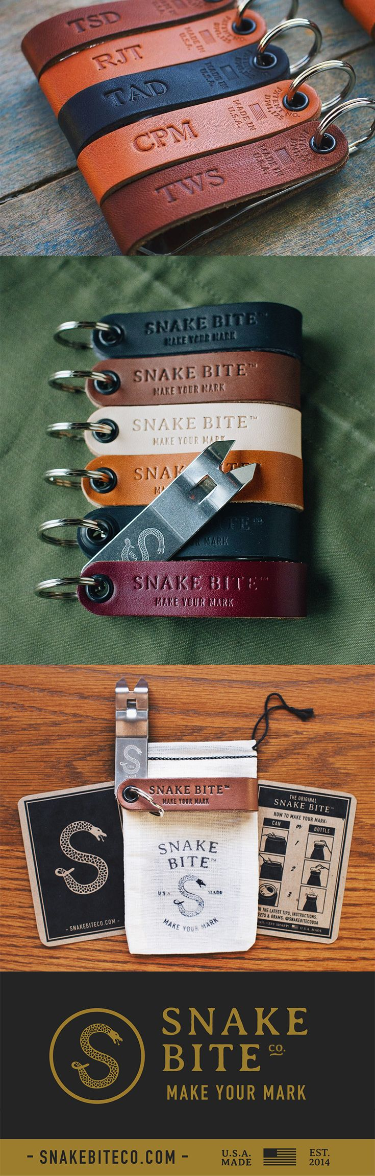 Your favorite church key bottle opener just got a little more personal. We now have the ability to personalize with up to four initials or numbers on the back of our Original Snake Bite leather. This customized extra step goes a long long way in showing your attention to detail. These custom bottle openers are perfect for wedding favors, bachelor party gifts, groomsmen gifts, and company gifts.  Free shipping and multi-unit discounts come standard!