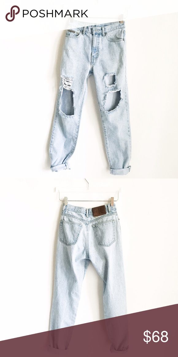 Vintage Calvin Klein High Waist Trashed Jean S 3/4 💞🎀Vintage Calvin Klein High Waist Trashed Jean Size 3/4. These are a super hot fit this season ladies!!!🔥🔥🔥  If you want a Sexy Fitted look, will fit a traditional size 4. If you want a Baggie Boyfriend look, will fit a traditional size 0-2.💞🎀 Calvin Klein Jeans Boyfriend