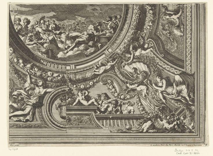 Jean Lepautre   Plafond met ronde voorstelling van de Olympus, Jean Lepautre, in or after 1661 - before 1666   Plafond met varianten voor drie maal een achtste gedeelte van de rand. Blad 4 uit serie van 6 bladen met ontwerpen voor plafonds, sommige met varianten voor de randen. Uit tweede editie.