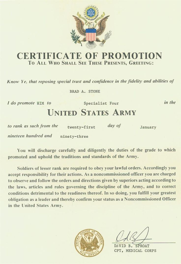 Officer Promotion Certificate Template Army di 2020