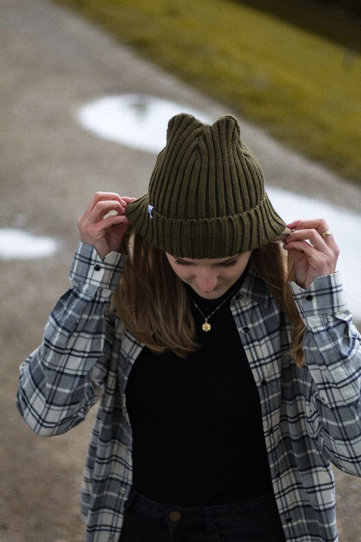 Nicole wearing our Green Chunky Knit Beanie.