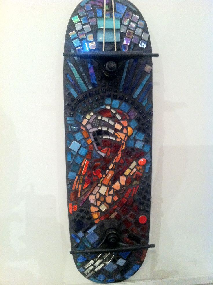 2011 Jenna Alderton Mixed Media Mosaic On Skateboard