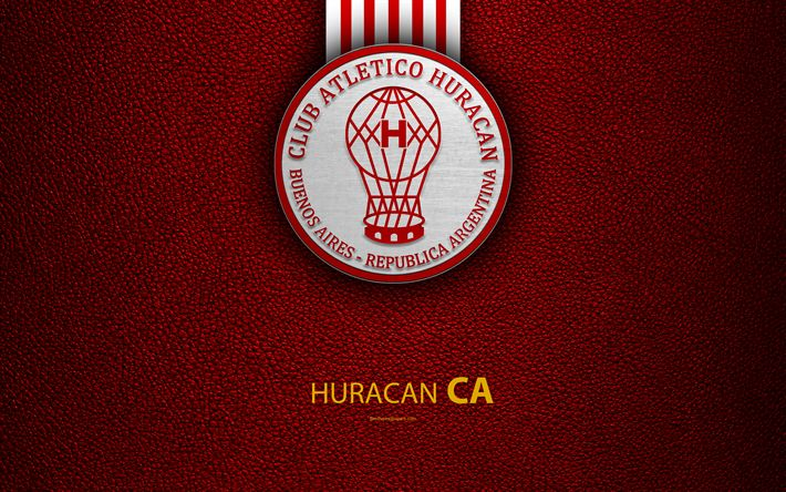 Download wallpapers Club Atletico Huracan, 4k, logo, Parque Patricios, Buenos Aires, Argentina, leather texture, football, Argentinian football club, Huracan FC, emblem, Superliga, Argentina Football Championships, First Division