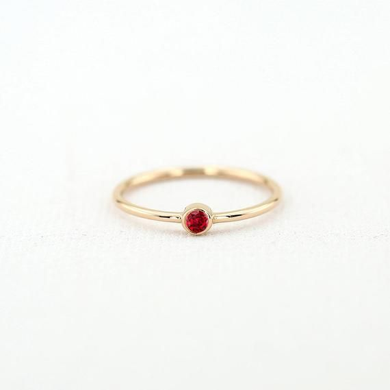 Birthday Gift Dainty Rings 14k Rose Gold Rings 14k Solid Gold Ring Ruby Ring Stackable Rings Precious Stone Ring Birthstone Ring