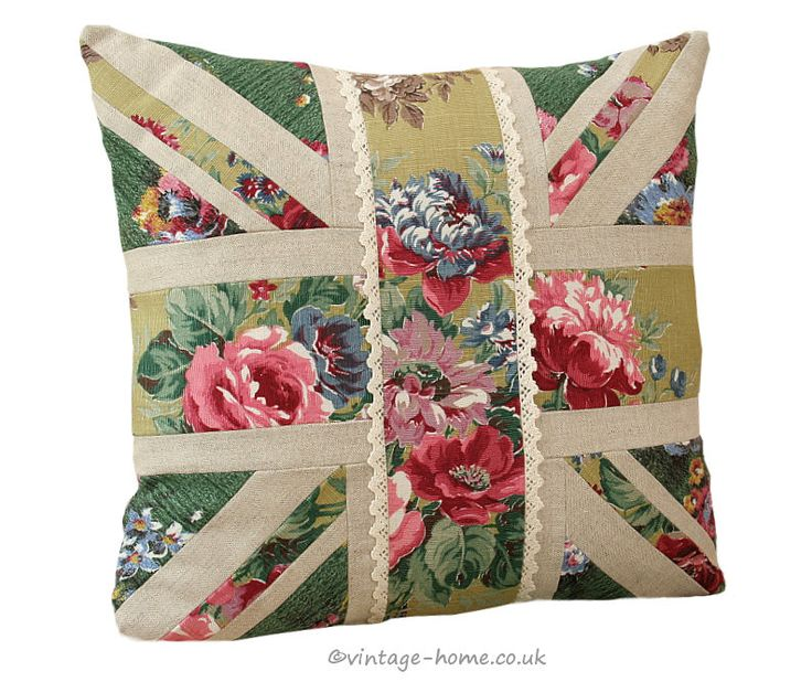 Vintage Home Shop - 1930s Floral Barkcloth and Linen Union Jack Cushion: www.vintage-home.co.uk