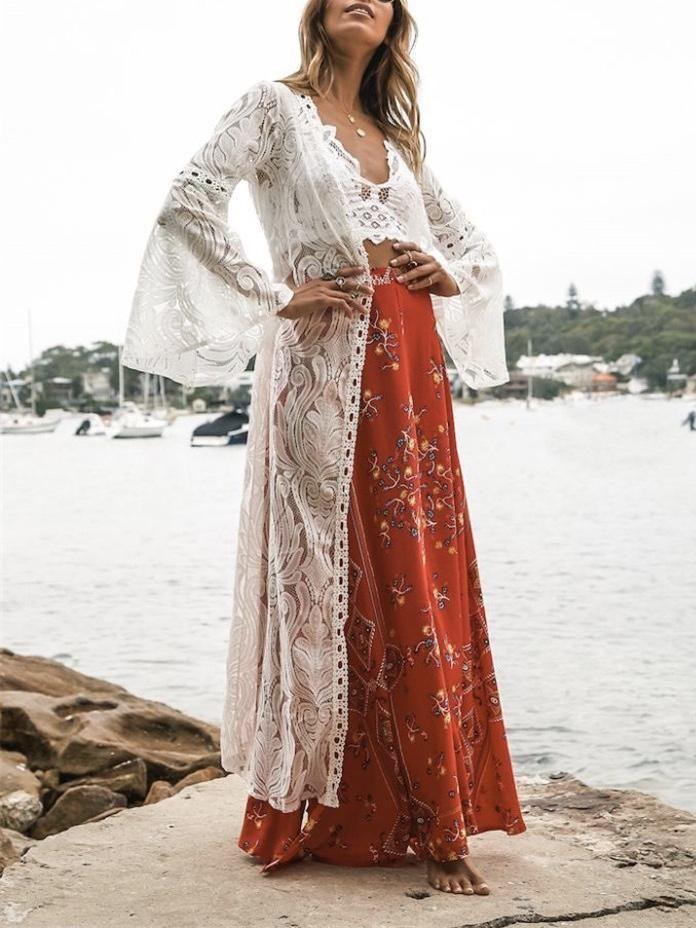 05c155b6ad White fashion sexy mesh lace v neck beach maxi cover-up in 2019 | Kimonos |  Lace kimono, White fashion, White cover up