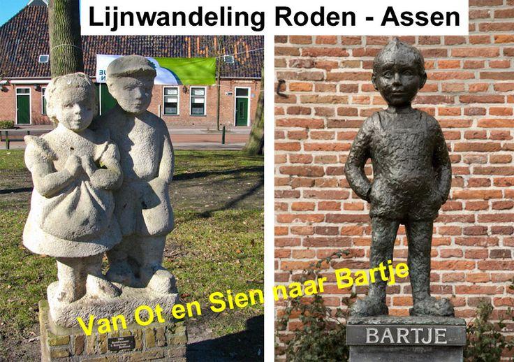 """""""Van Ot en Sien naar Bartje"""" Lijnwandeling Roden-Assen (28km) http://wandelenrondroden.nl/wandelroutes-overzichten/wandelroutes/lijnwandelingen/roden-assen-van-ot-en-sien-naar-bartje-28km Deze lijnwandeling voert u van Roden, dorp van Ot en Sien, naar Assen en het beeld van Bartje. U komt door de mooie landelijke kop van Drenthe met o.a. voormalig landgoed Mensingebos, het Lieverse Diep, fraaie essen, oude veentjes en historische bouwwerken. #wandelen #wandelroute"""