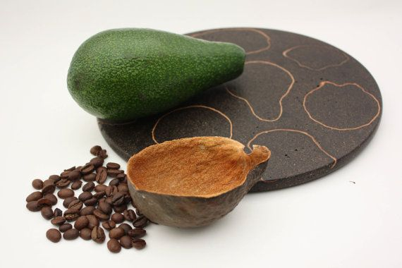 Recycled Coffee And Avocado Plate Modern Trivet Handmade