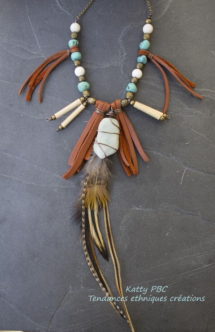 """Collier amerindien plumes """" Oyadesa"""" - Pierre, plumes et cuir : Collier par tendances-ethniques-creations"""